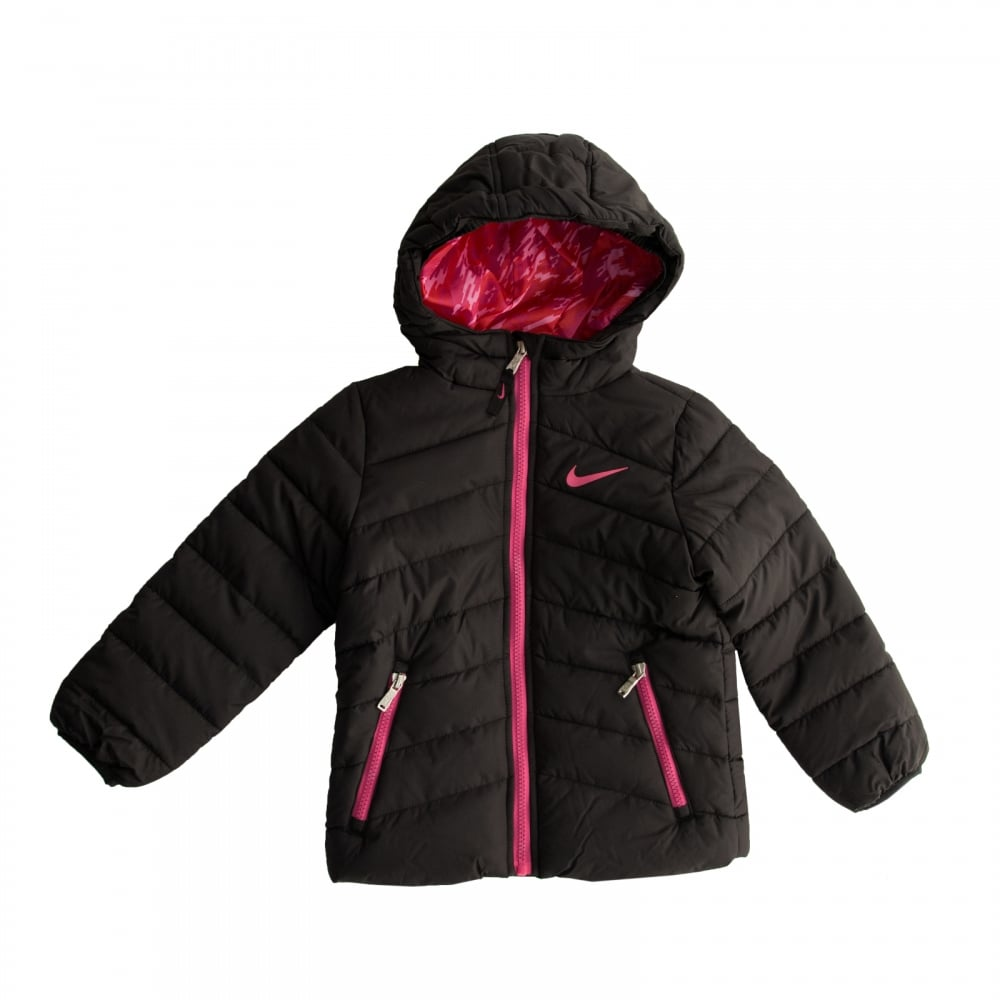 0efe439ba5df Nike Juniors Girls Hooded Padded 316 Jacket (Black) - Kids from ...