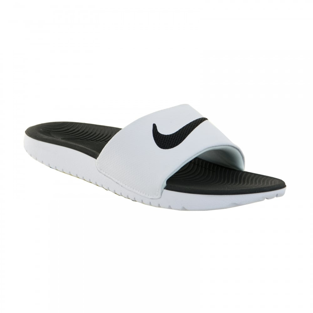 04a7e9478db67 NIKE Nike Juniors Kawa Slide Flip Flops (White Black) - Kids from ...