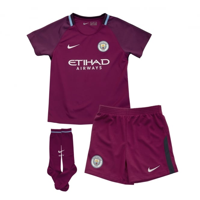 Nike Juniors Manchester City 2017 2018 Little Kids Away Kit (Berry ... 8103b8a65