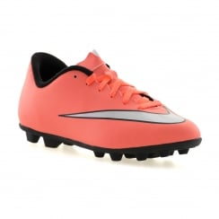Nike Juniors Mercurial FG Football Boots (Bright Mango/Metallic Silver/Hyper Turquoise)
