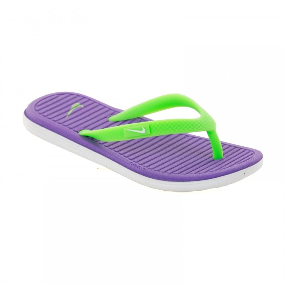 785be3823baf ... uk nike juniors solar soft thong flip flops hyper grape voltage green  white a96a0 3a3c5
