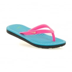 Nike Juniors Solar Soft Thong Flip Flops (Pink Blast/Ghost Green/Gamma Blue)