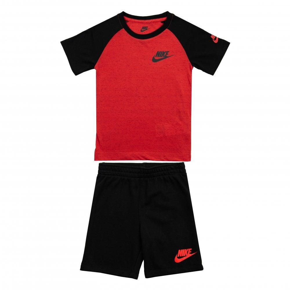 dd5b4fb3db0db Nike Juniors Speckle T-Shirt & Shorts Set (Red / Black) - Kids from ...