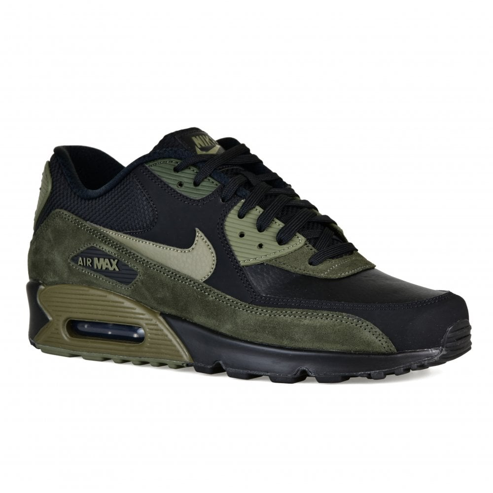 355458b39 ... Nike Mens Air Max 90 Leather Trainers (Black Olive) ...