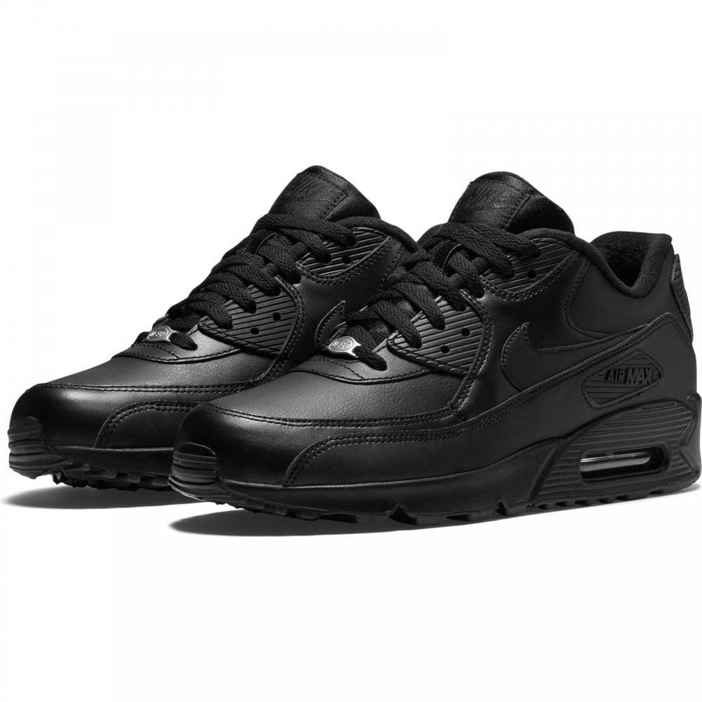 Mens Air Max 90 Leather Trainers (Black)