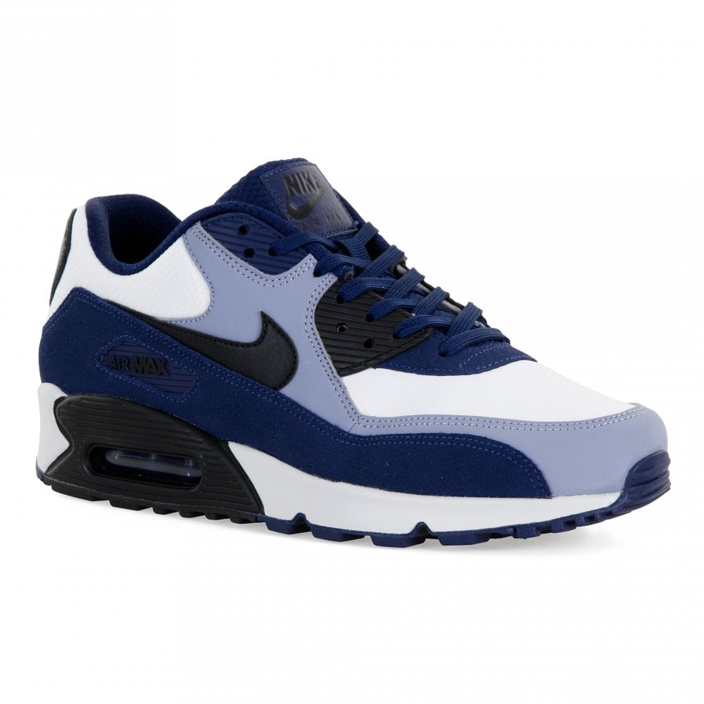 new york f244b a948f Nike Mens Air Max 90 Leather Trainers (White Blue)