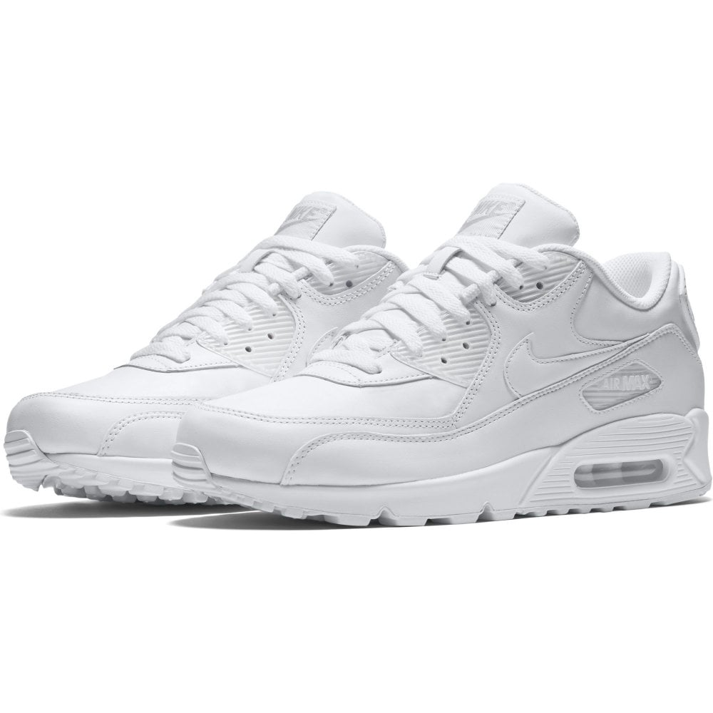 Mens Nike Air Max 90 Leather Trainers White