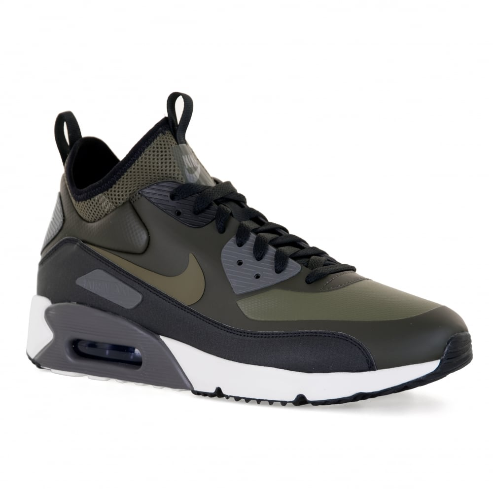 nike mens air max 90 ultra mid winter 417 trainers olive. Black Bedroom Furniture Sets. Home Design Ideas