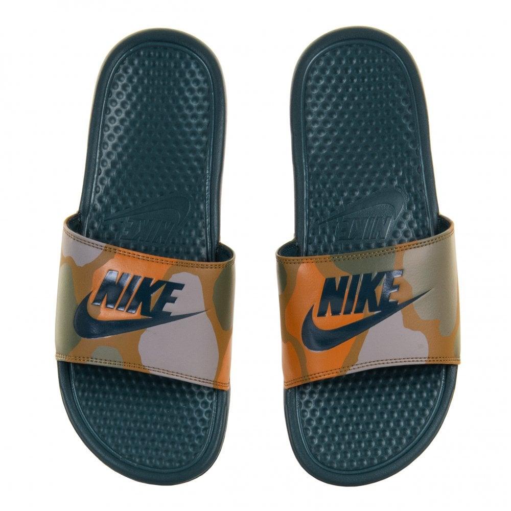 a5614561e438 NIKE Nike Mens Benassi JDI Camo Print Flip Flops (Khaki) - Mens from ...