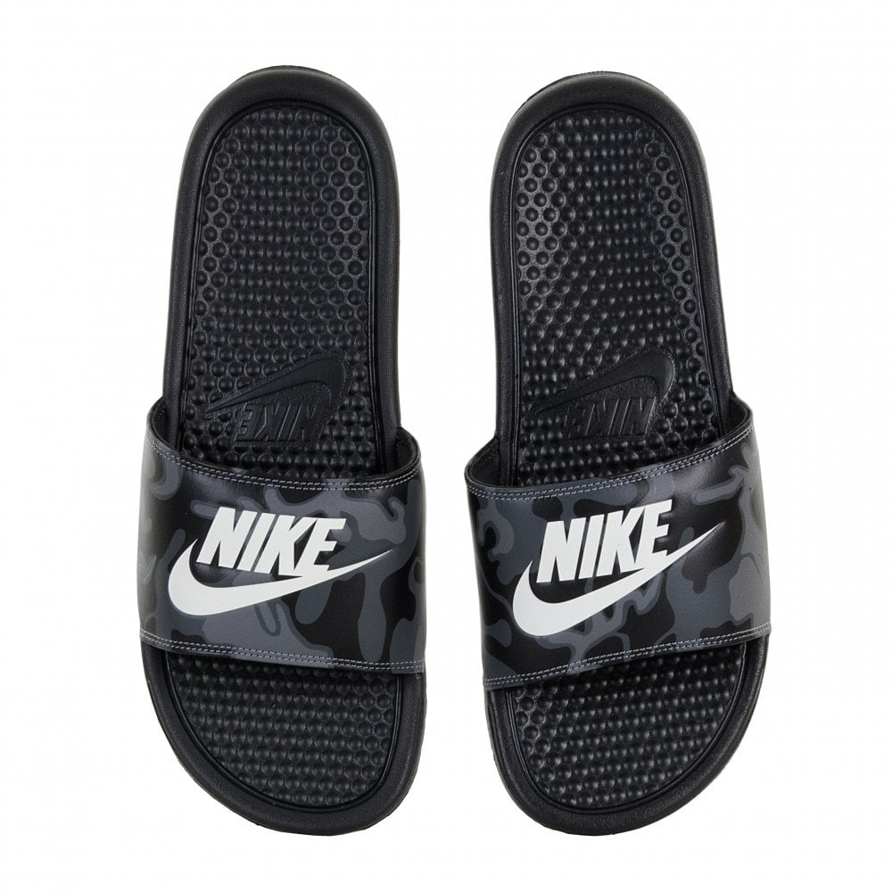 low priced 243e9 f27a7 Nike Mens Benassi JDI Camo Print Slides (Black)