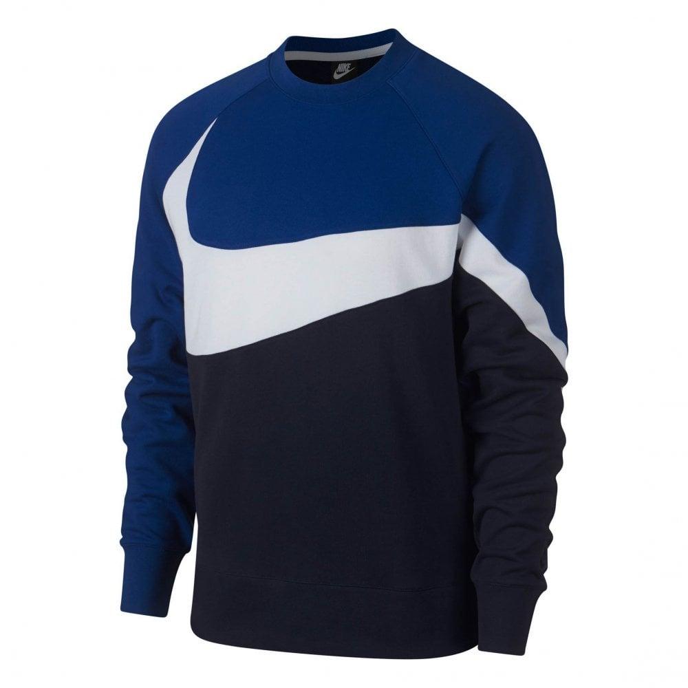 ba5eba9926d4 Nike Mens Crew A Statement In Swoosh Sweatshirt (Blue   White   Navy ...