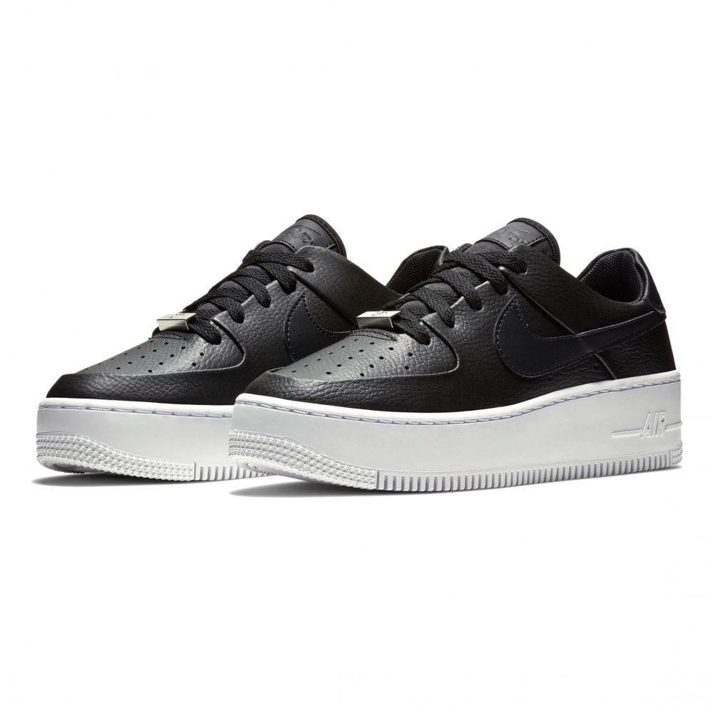 0383ff4a4a35 Nike Womens Air Force 1 Sage Low Trainers (Black   White) - Womens ...