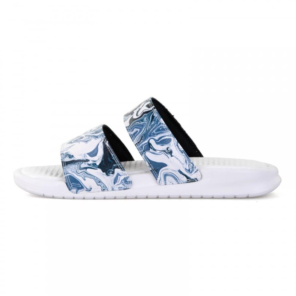aa363ecc6 Nike Womens Benassi Duo Ultra Slides (White Blue Black) - Womens ...