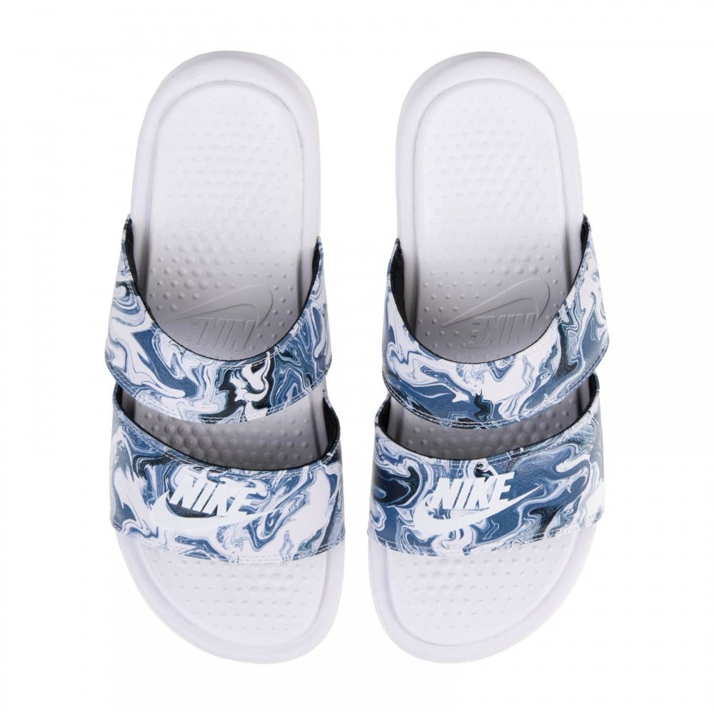 9d7380c683b7f1 NIKE Nike Womens Benassi Duo Ultra Slides (White Blue Black ...