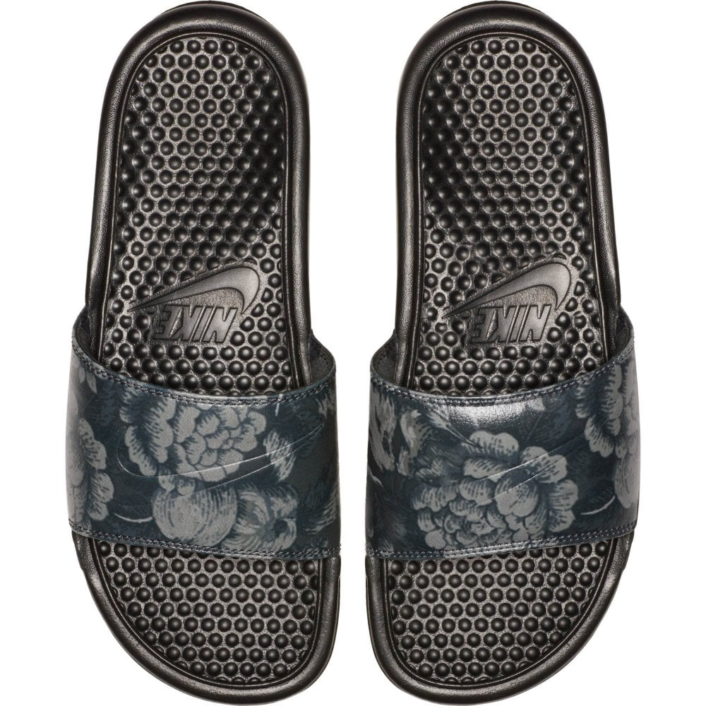 97fd2e0d7d34f Nike Womens Benassi JDI Flower Print Slides (Black) - Womens from ...