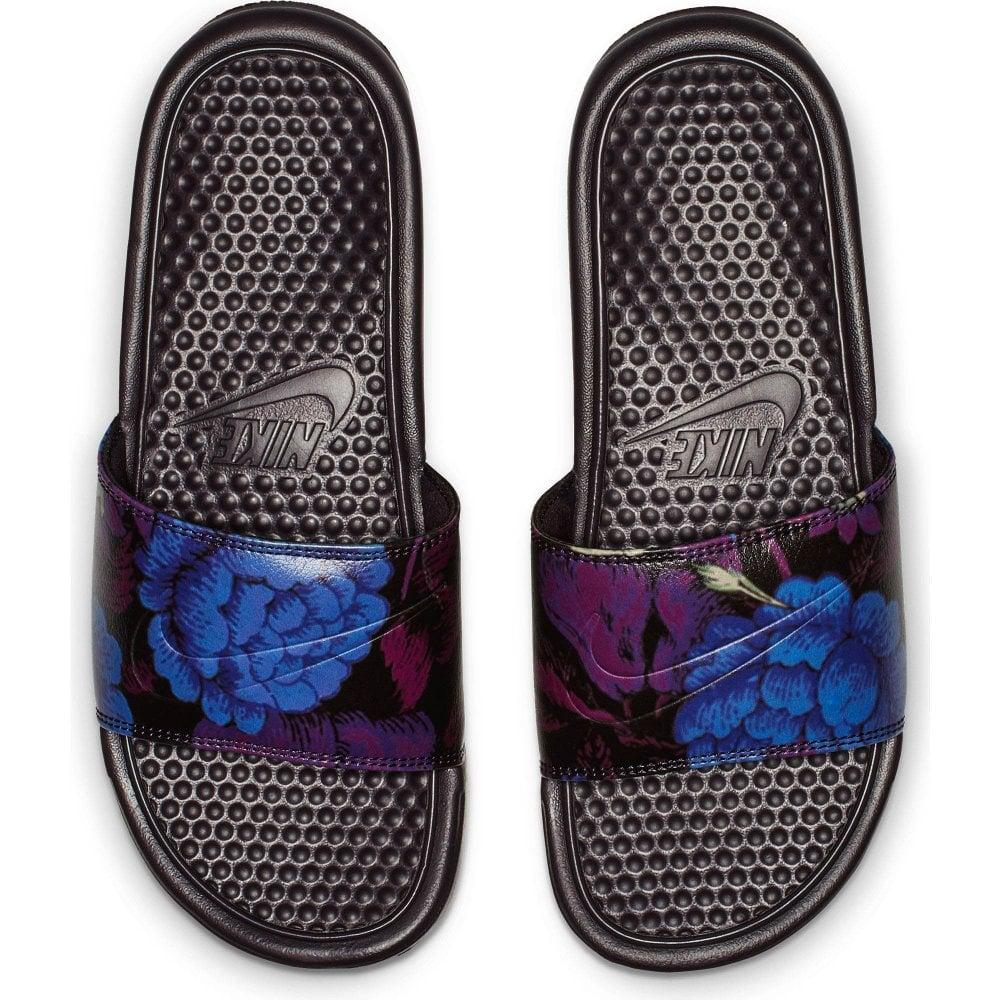 factory price 5a59f e29eb Nike Womens Benassi JDI Flower Print Slides (Burgundy)
