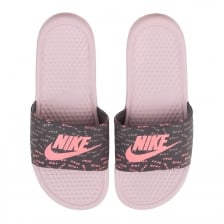 Nike Womens Benassi JDI 'Just Do It' Print Slides (Rose)