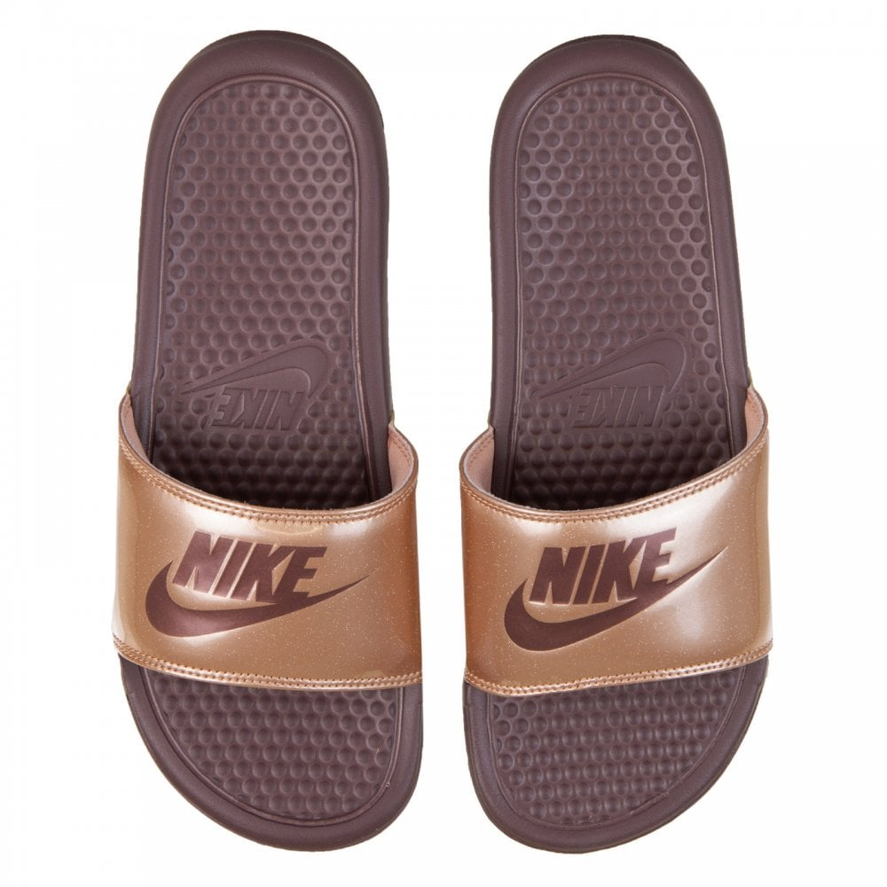 Nike Womens Benassi Jdi Print Slide Flip Flops Bronze - Womens From Loofes Uk-6972