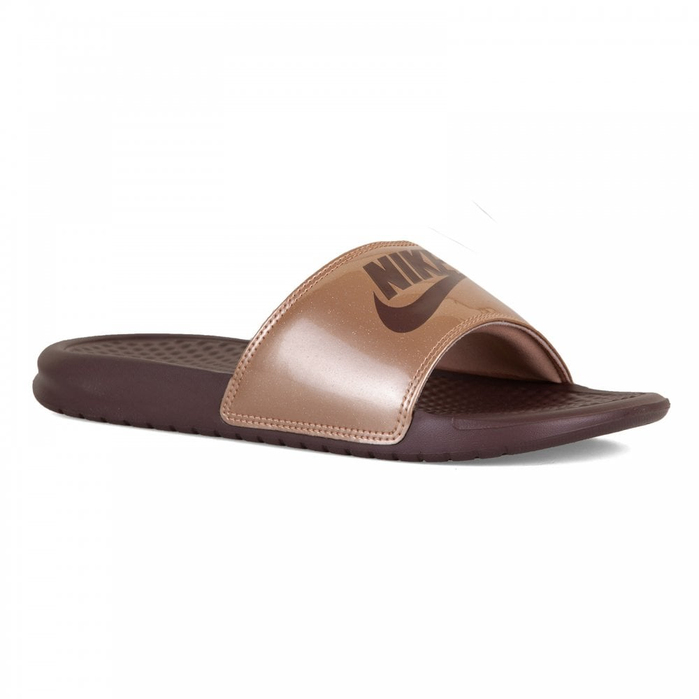 138aeada1c92 Nike Womens Benassi JDI Print Slide Flip Flops (Bronze) - Womens ...