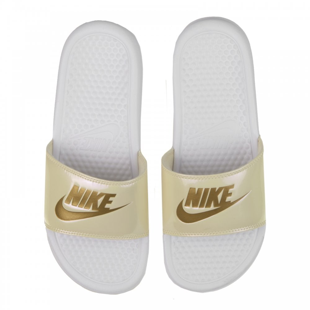 cea10ddaadae Nike Womens Benassi JDI Slide Flip Flops (White Gold) - Womens from ...