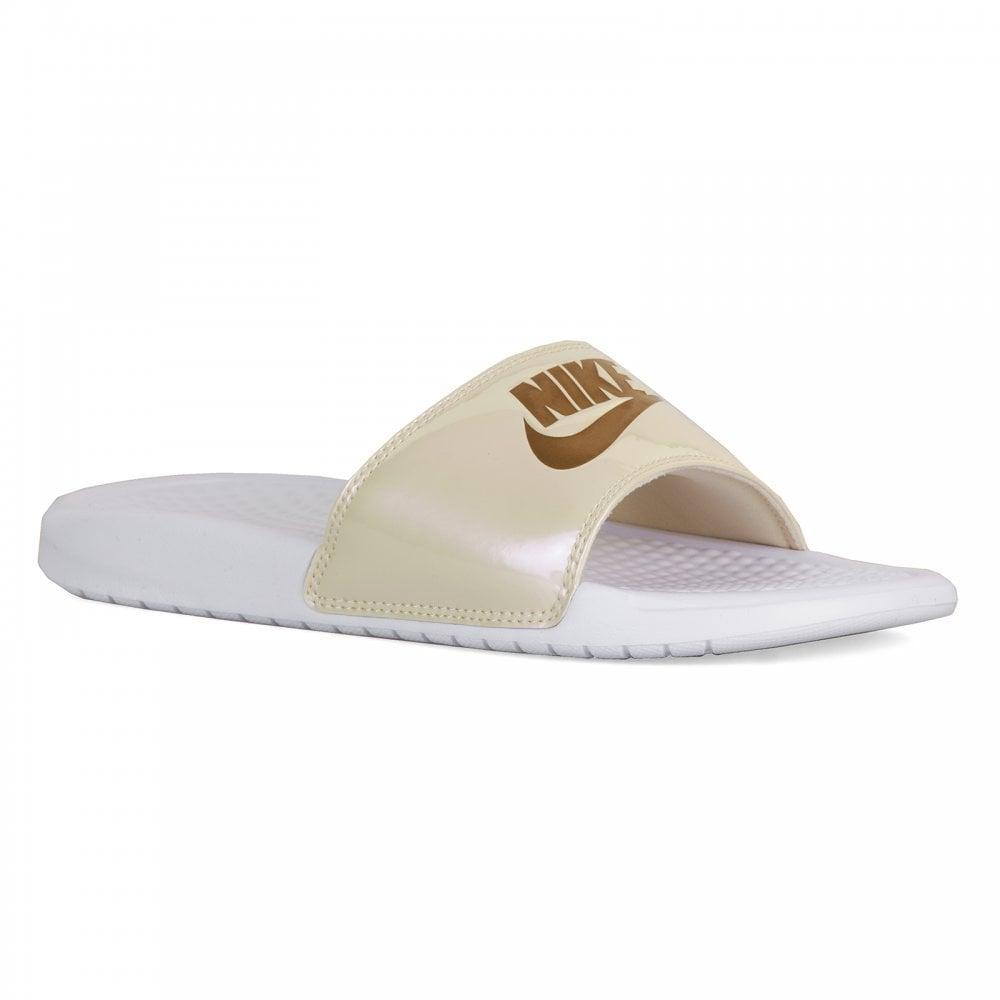 605dfdeacd68 Nike Womens Benassi JDI Slide Flip Flops (White Gold) - Womens from ...