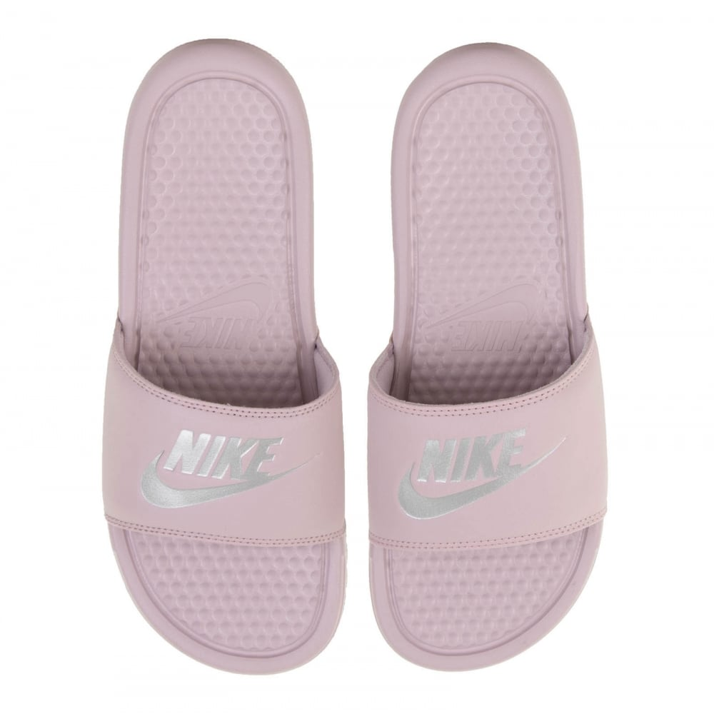 purple nike slides
