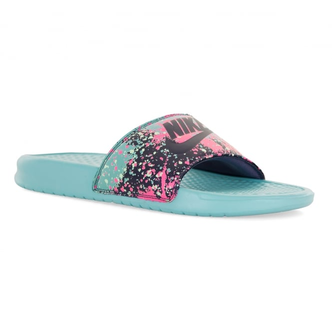 75750521a591 nike womens benassi print slide flip flops blue   sandals from loofes uk