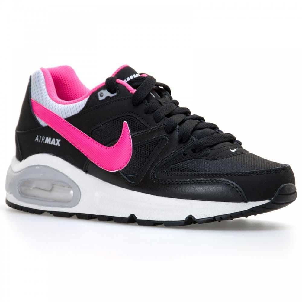 nike nike youths air max command trainers black pink. Black Bedroom Furniture Sets. Home Design Ideas