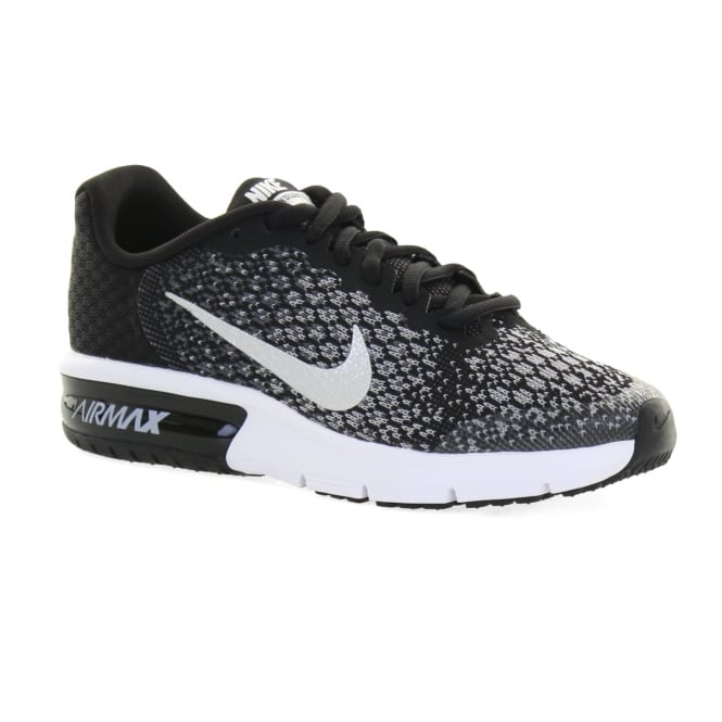 2b08370aff nike youths air max sequent 2 trainers black silver kids from loofes uk