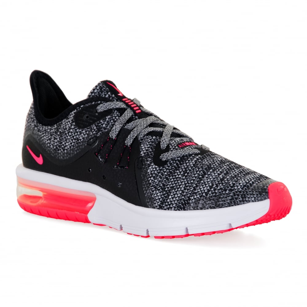 66d8db110377 Nike Youths Air Max Sequent 3 118 Trainers (Black White Pink) - Kids ...
