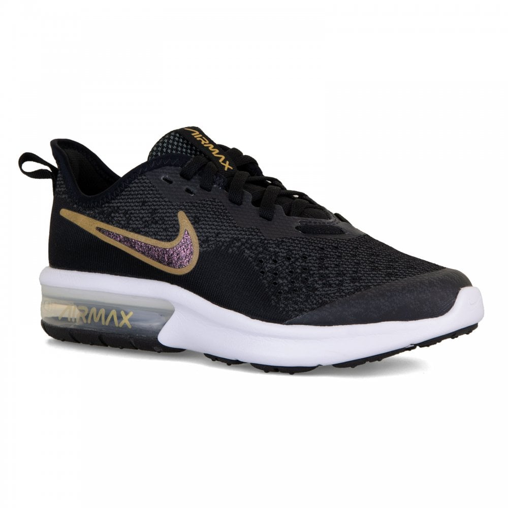 NIKE Nike Youths Air Max Sequent 4 SH Trainers (Black Gold) - Kids ... 8d05f0f18