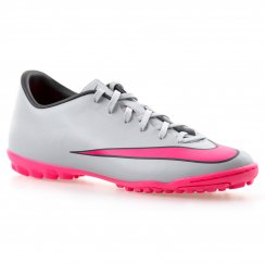 Nike Youths Mercurial Victory Turf Football Boots (Wolf Grey/Hyper Pink)