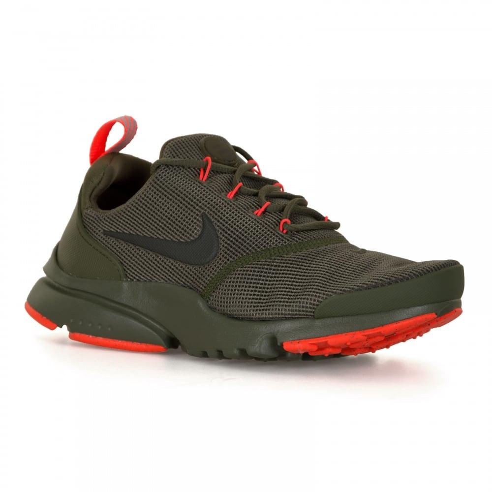 Nike Youths Presto Fly Trainers (Olive/Orange)