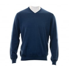 Olymp Mens 01501 V Neck Sweater (Blue)