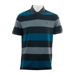 Original Penguin Mens Birdseye Colour Block Polo Shirt (Dark Sapphire)