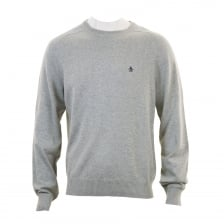 Original Penguin Mens Cable Crew Knit Sweater (Grey)