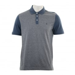 Original Penguin Mens Diamond Jacquard Polo Shirt (Dark Denim)