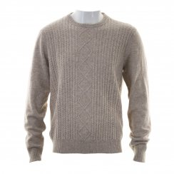 Original Penguin Mens Engineered Aran Crew Neck Knitted Sweater (Beige)