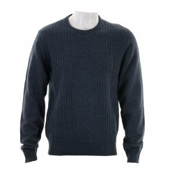 Original Penguin Mens Engineered Aran Crew Neck Knitted Sweater (Navy)