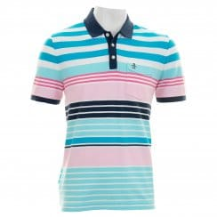 Original Penguin Men's GL Stripe Pocket Polo T-Shirt (White/Scuba Blue/Hot Pink/Pale Pink/Navy/Pale