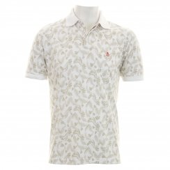 Original Penguin Men's Juntas Leaf Pattern Polo T-Shirt (Bright White/Khaki)