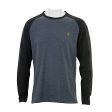 Original Penguin Mens Long Sleeve Baseball T-Shirt (Indigo)