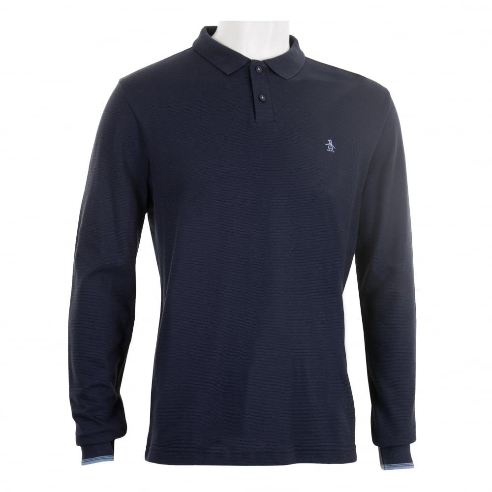 9606e33e Original Penguin Mens Ottoman Long Sleeve Polo Shirt (Navy) - Mens ...