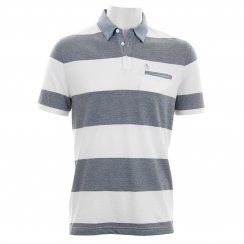 Original Penguin Mens Stripe Polo T-Shirt (Bright White/Navy)