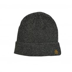 Original Penguin Mens Twisted Yarn Rib Beanie Hat (Grey)