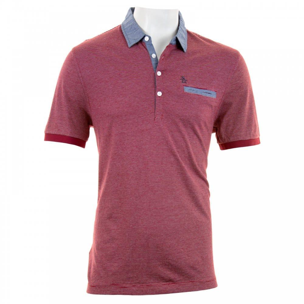 823c5875e31 Original Penguin Mens Yarn Dye Stripe Polo Shirt (Red) - Mens from ...