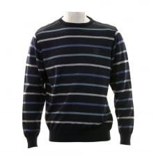 Paul And Shark Mens Yachting Stripe Crew Neck Knit Sweater (Navy)