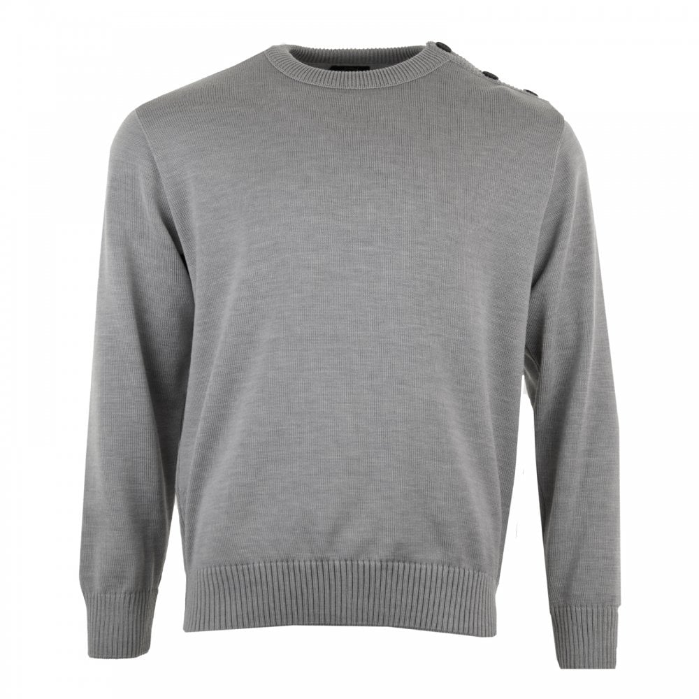 Paul   Shark Mens Button Shoulder Knit Sweater (Grey) - Mens from ... 8ff97a304be9