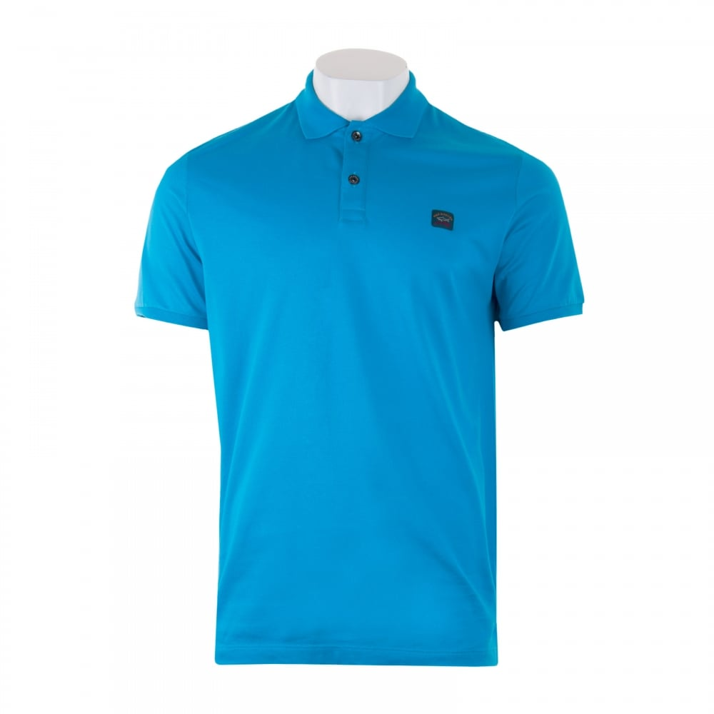 Paul shark mens embroidered logo polo shirt blue for Embroidered logos on shirts