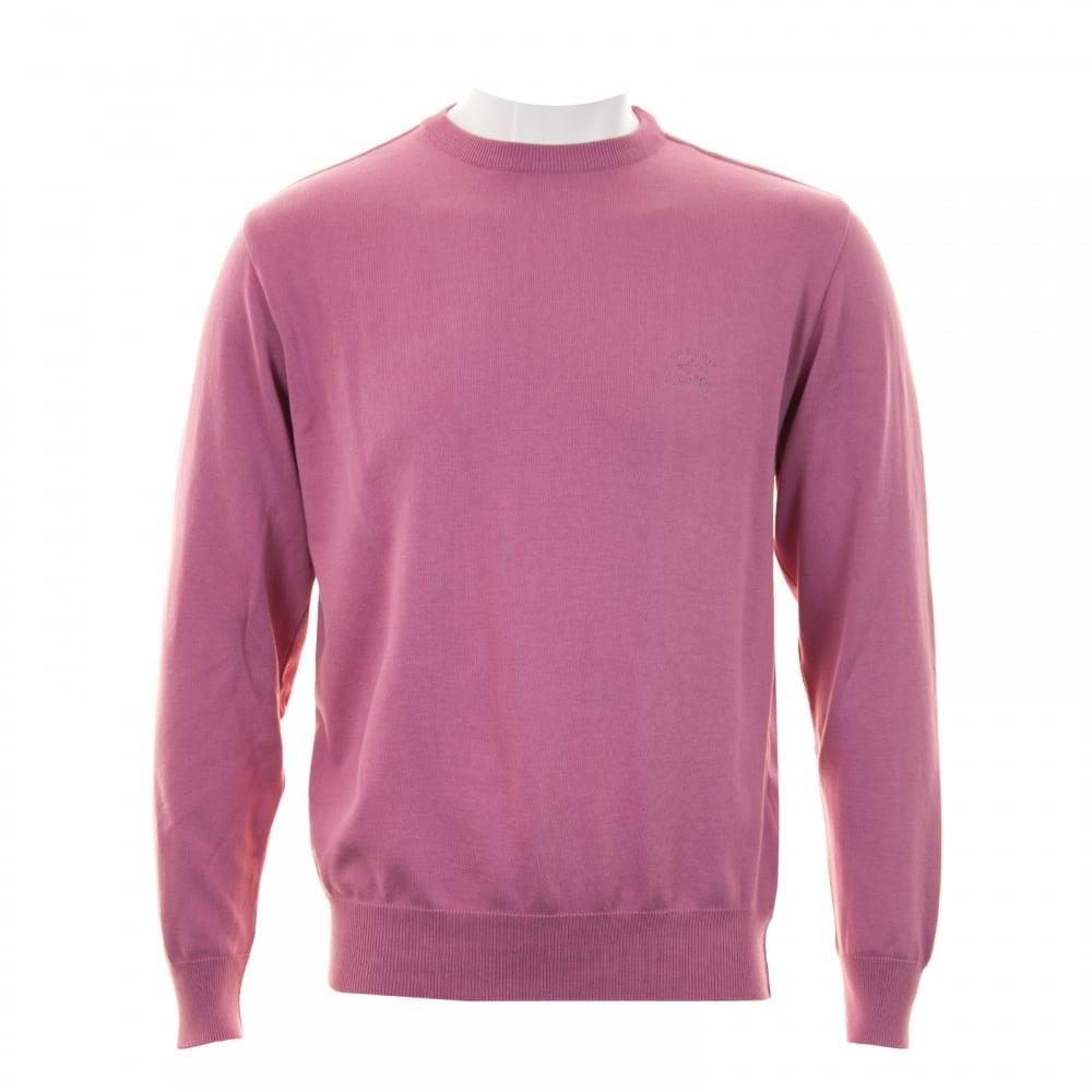 Paul & Shark Mens Fine Gauge Crew Neck Knit Sweater (Pink) - Mens ...
